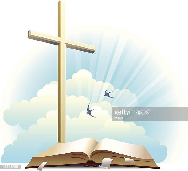 bible and cross. - cross shape stock illustrations, clip art, cartoons, & icons