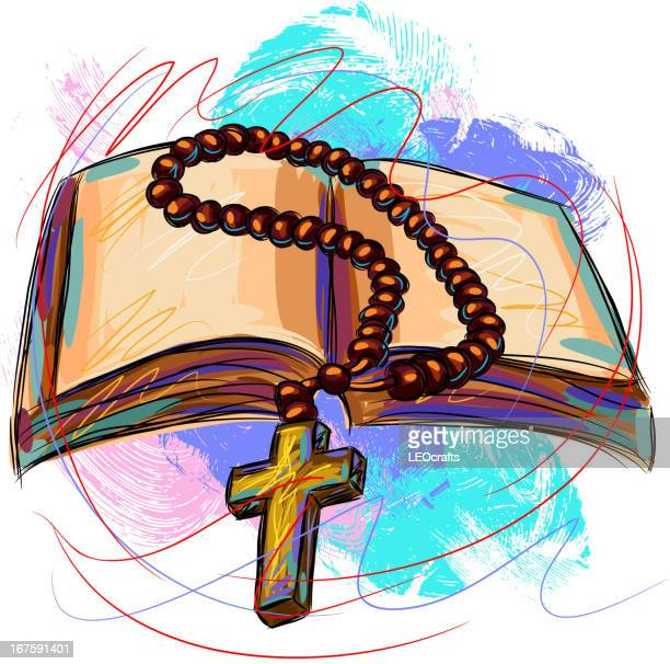 bible and rosary - rosary beads stock illustrations