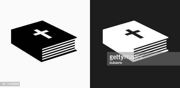 Bible Book Icon on Black and White Vector Backgrounds