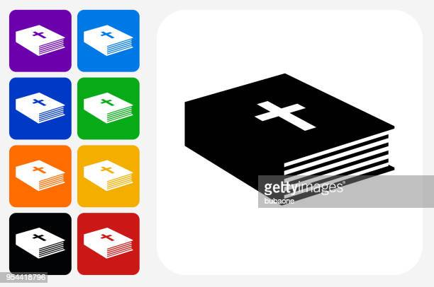 Bible Book Icon Square Button Set