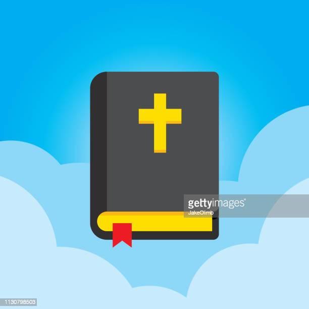 bildbanksillustrationer, clip art samt tecknat material och ikoner med bibel ikonen flat - bibel