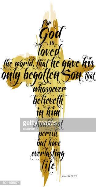 bible john 3:16 kjv - resurrection religion stock illustrations, clip art, cartoons, & icons