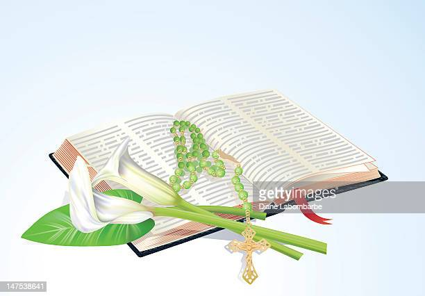 bible with calla lilies and rosary - calla lily stock illustrations, clip art, cartoons, & icons