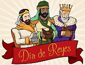 Biblical Three Magi behind Ribbon for Spanish 'Dia de Reyes'