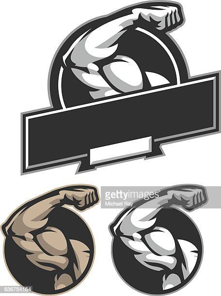 bicep flex - weight training stock illustrations