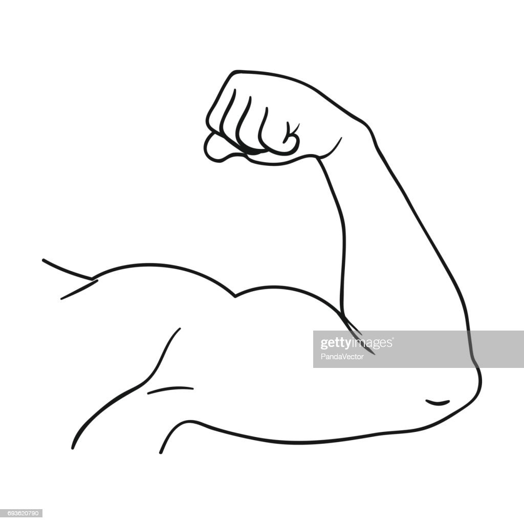 Biceps icon in outline style isolated on white background. Sport and fitness symbol stock vector illustration.