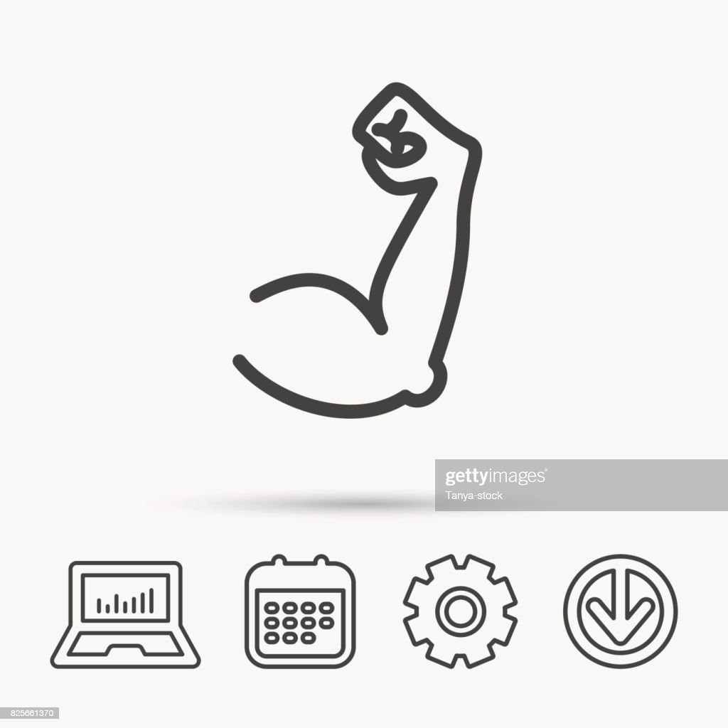 biceps muscle icon bodybuilder strong arm sign vector art getty images