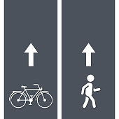 Bicycle and Pedestrian Paths. Walking path and bike path Vector illustration