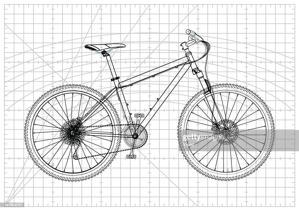 Bicycle blueprint vector art getty images bicycle blueprint vector art malvernweather Image collections