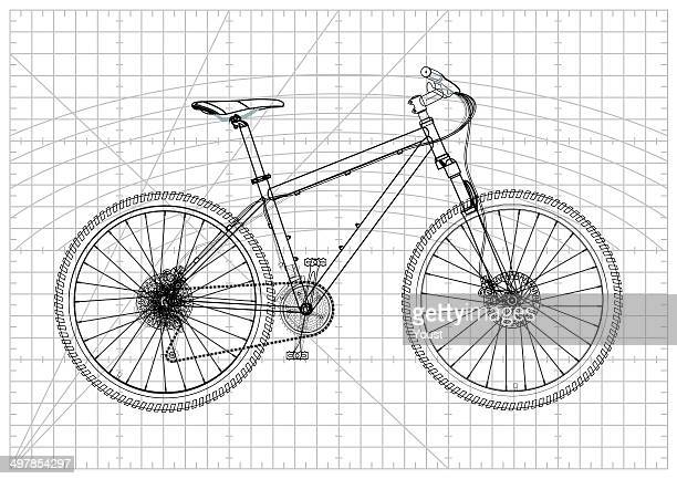 bicycle blueprint - letrac stock illustrations