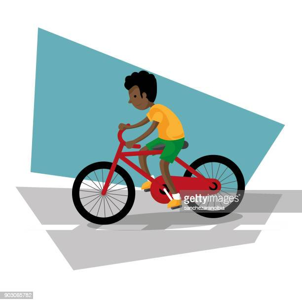 bicycle boy 02 - cardiovascular exercise stock illustrations, clip art, cartoons, & icons