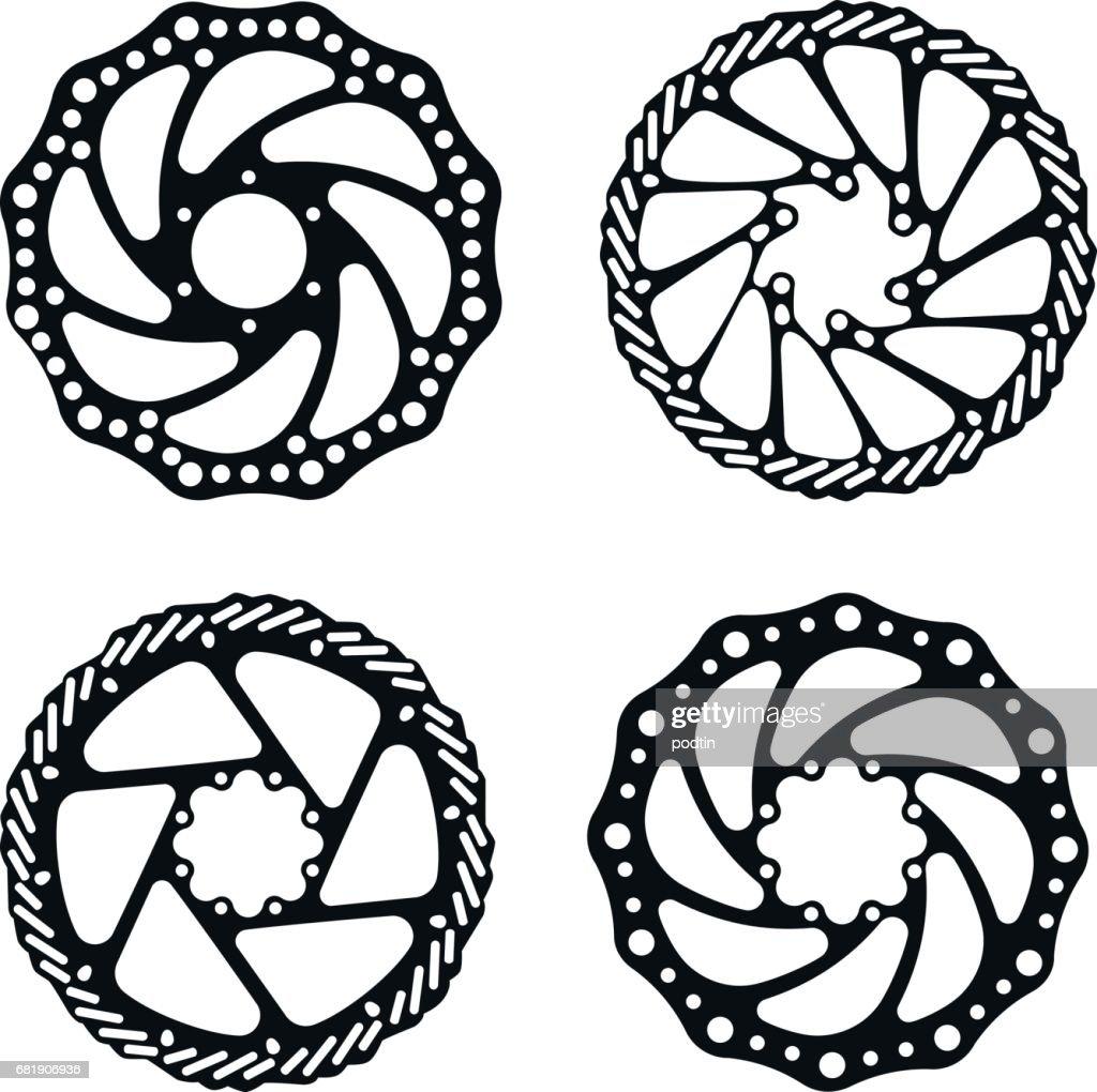 Bicycle brake disc. Bicycle parts. Vector set.