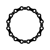 Bicycle chain circle on a white background