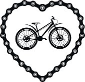 Bicycle chain in the form of heart with a bicycle.