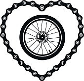 Bicycle chain in the form of heart with a bicycle wheel.
