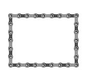 Bicycle chain square frame. Iron frame. Vector illustration