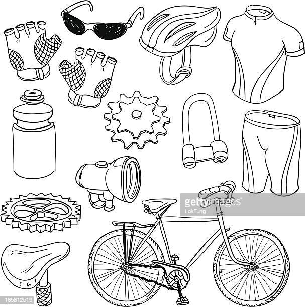 Bicycle equipment in black and white