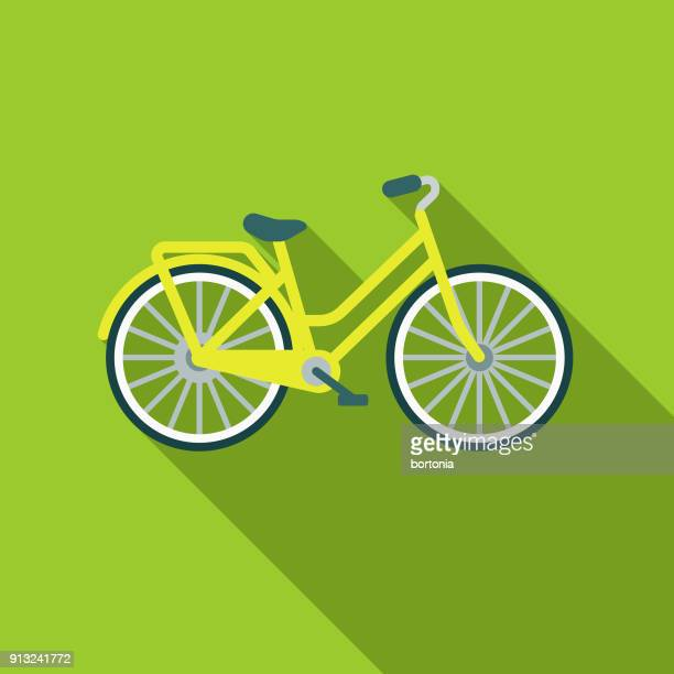bicycle flat design environmental icon - bicycle stock illustrations