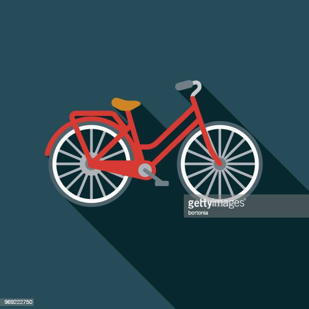 bicycle flat design summer icon with side shadow - bicycle stock illustrations