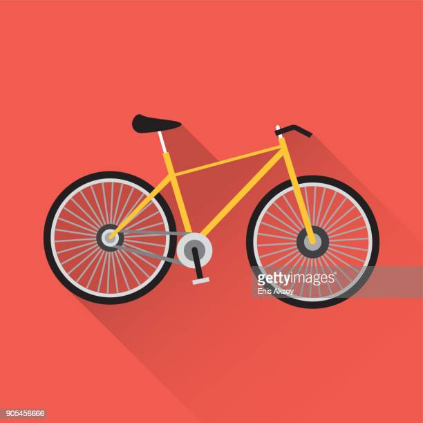 stockillustraties, clipart, cartoons en iconen met fiets plat pictogram - fietsen