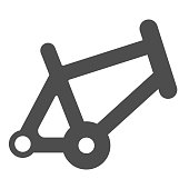 Bicycle frame solid icon, bicycle parts and accessories concept, bike frame sign on white background in glyph style for mobile concept and web design. Vector graphics.