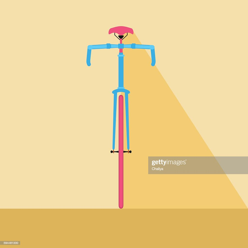 Bicycle front view. Flat design style bicycle.