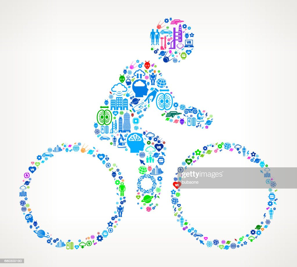 Bicycle  Future and Futuristic Technology Vector Icon Background : Vector Art