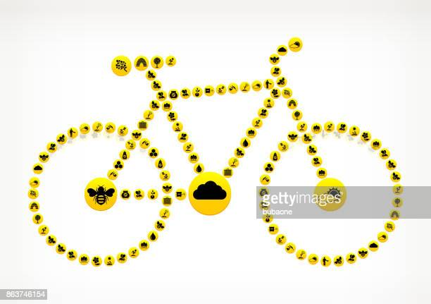 bicycle  honey bee vector yellow button pattern - queen bee stock illustrations