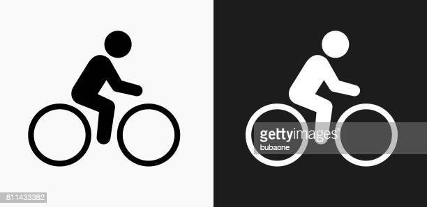 bicycle icon on black and white vector backgrounds - sport set competition round stock illustrations