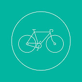 Bicycle icon on colorful background. Vector illustration.