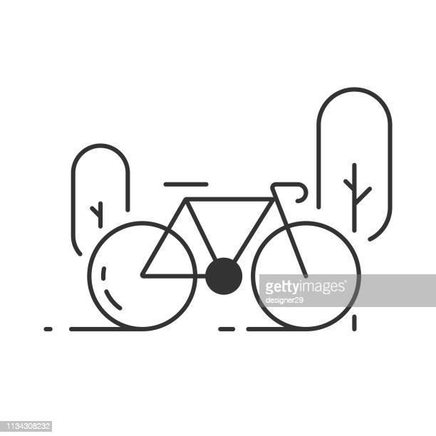 自転車のアイコン - フラットデザイン 街点のイラスト素材/クリップアート素材/マンガ素材/アイコン素材