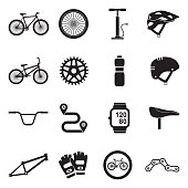 Bicycle Icons. Black Flat Design. Vector Illustration.