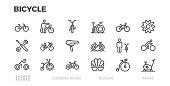 Bicycle icons. Cycling, Wheels, bike, cyclist equipment. Editable stroke.