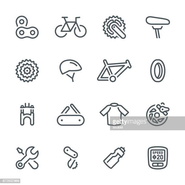 bicycle icons - cycling helmet stock illustrations