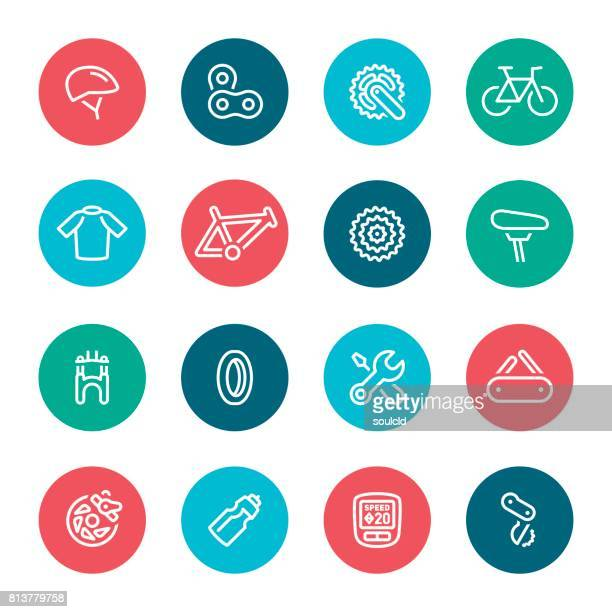 bicycle icons - bike helmet stock illustrations, clip art, cartoons, & icons