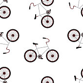 Bicycle Isolated on the White Background Seamles Pattern.