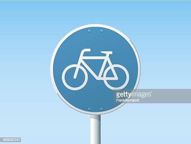 fahrradweg deutsche schild-blau - schild stock-grafiken, -clipart, -cartoons und -symbole
