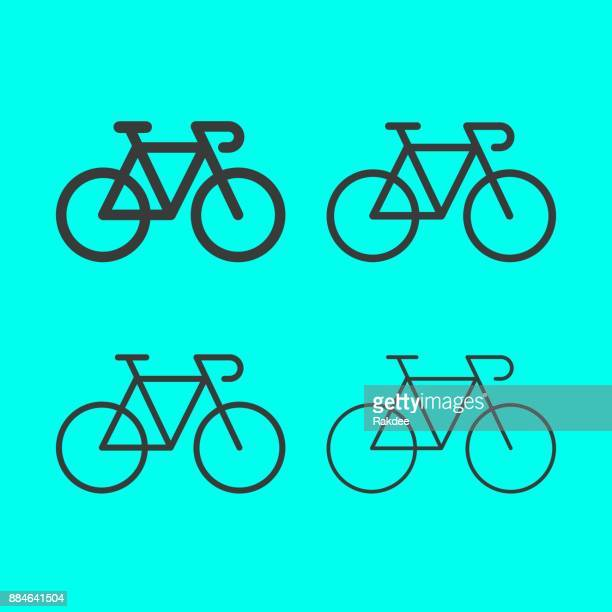 bicycle line icon - cycling stock illustrations
