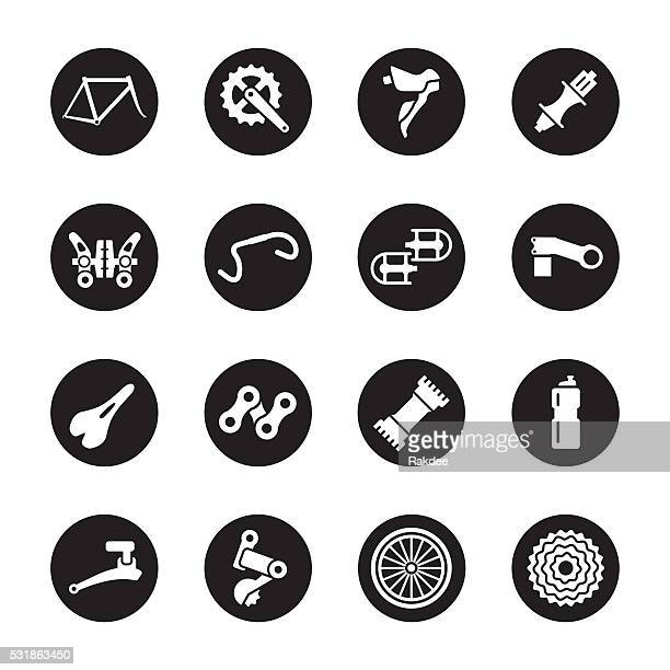 bicycle parts icons - black circle series - derailleur gear stock illustrations, clip art, cartoons, & icons