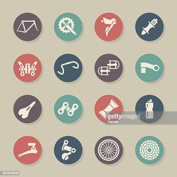 bicycle parts icons - color circle series - derailleur gear stock illustrations, clip art, cartoons, & icons