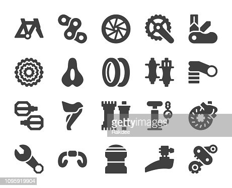 Bicycle Parts Icons Stock Vector Getty Images