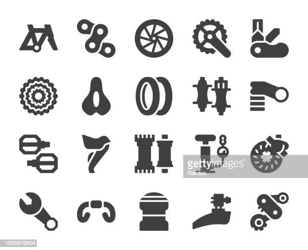 bicycle parts - icons - bicycle stock illustrations