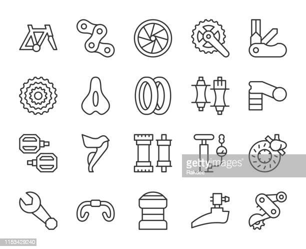 bicycle parts - light line icons - derailleur gear stock illustrations, clip art, cartoons, & icons