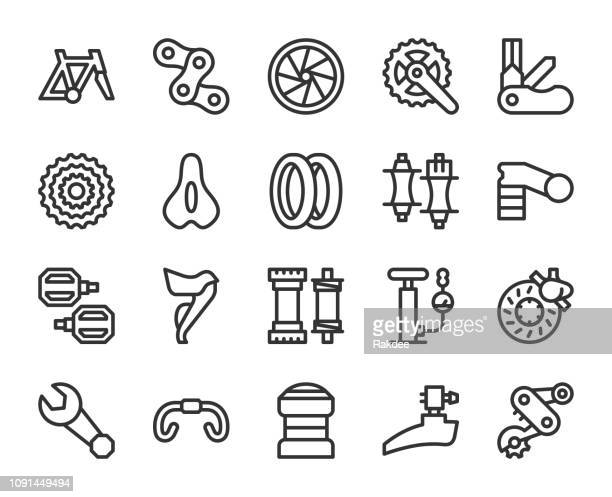 bicycle parts - line icons - bicycle stock illustrations