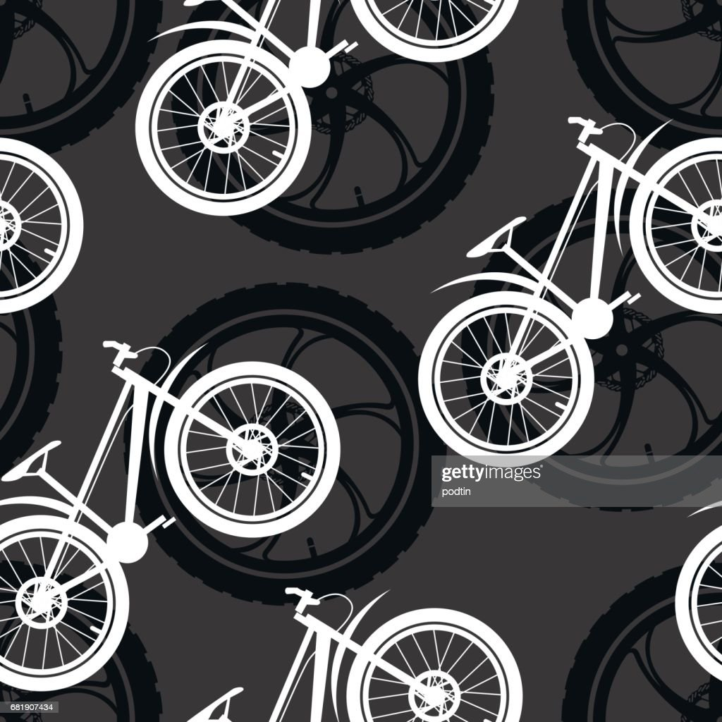 Bicycle Parts Pattern Made Of Cast Sport Bicycle Wheels And Mountain