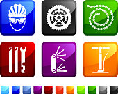 Bicycle Parts Repair royalty free vector icon set stickers