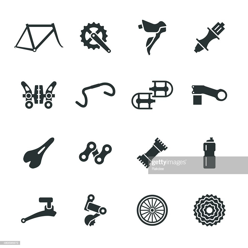 Bicycle Parts Silhouette Icons Set 1