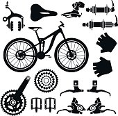 Bicycle parts. Vector set.