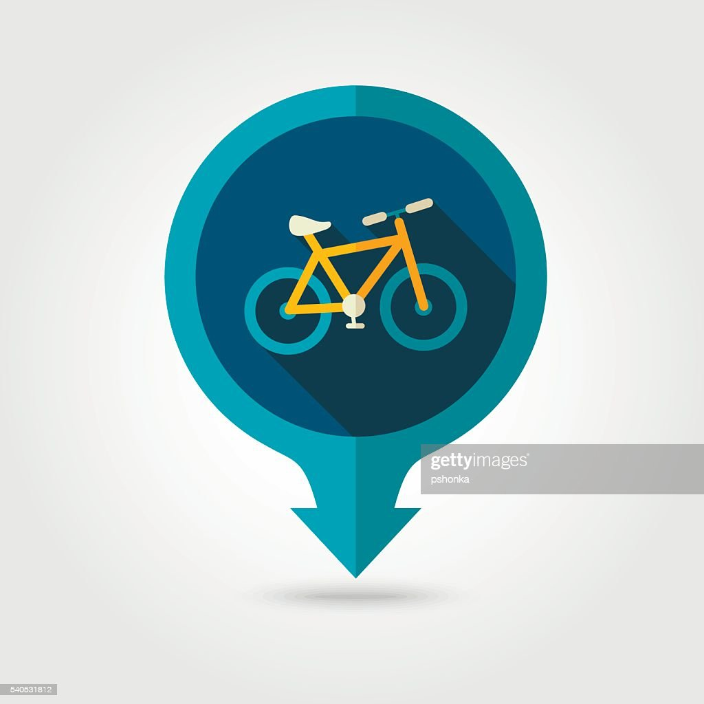 Bicycle pin map flat icon. Summer. Vacation