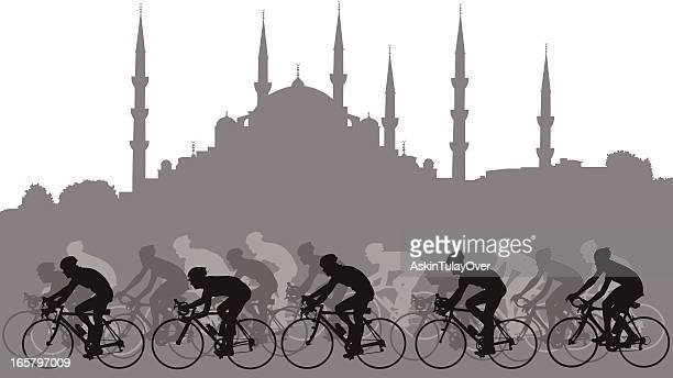 bicycle racers - racing bicycle stock illustrations